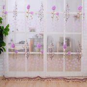 Rem trang tri vai voan hoa tiet hoa hong xinh xan
